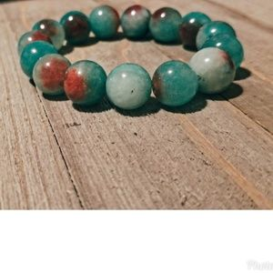 12mm Jade Green and Red Beaded Bracelet
